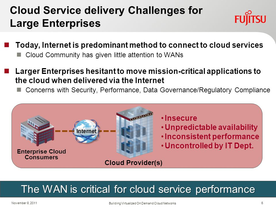November 8, 2011 Cloud Service delivery Challenges for Large Enterprises Today, Internet is predominant method to connect to cloud services Cloud Comm