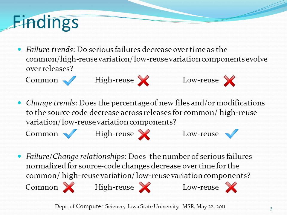 Findings Failure trends: Do serious failures decrease over time as the common/high-reuse variation/ low-reuse variation components evolve over releases.