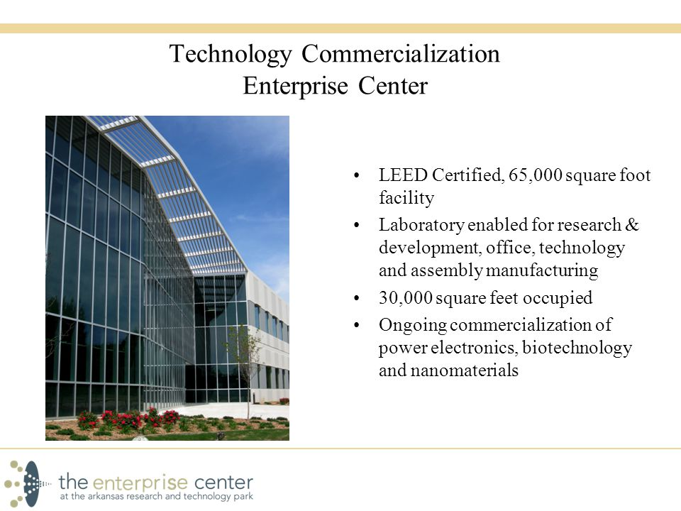Technology Commercialization Enterprise Center LEED Certified, 65,000 square foot facility Laboratory enabled for research & development, office, technology and assembly manufacturing 30,000 square feet occupied Ongoing commercialization of power electronics, biotechnology and nanomaterials
