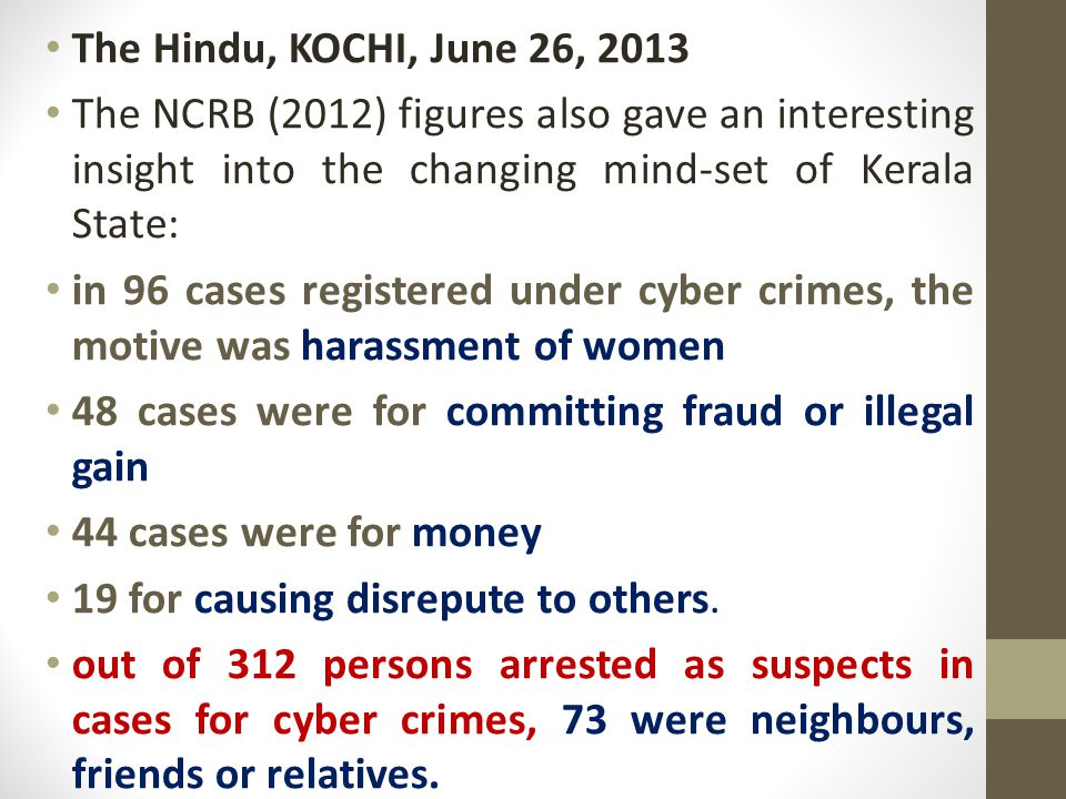 The Hindu, KOCHI, June 26, 2013 The NCRB (2012) figures also gave an interesting insight into the changing mind-set of Kerala State: in 96 cases registered under cyber crimes, the motive was harassment of women 48 cases were for committing fraud or illegal gain 44 cases were for money 19 for causing disrepute to others.