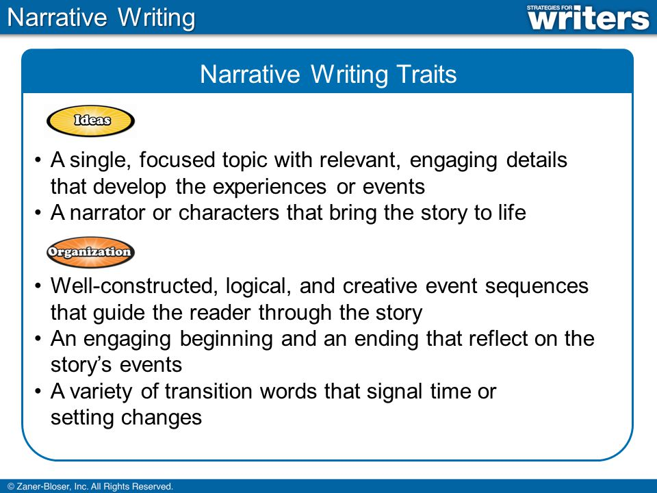 Narrative Writing Traits A single, focused topic with relevant, engaging details that develop the experiences or events A narrator or characters that bring the story to life Well-constructed, logical, and creative event sequences that guide the reader through the story An engaging beginning and an ending that reflect on the storys events A variety of transition words that signal time or setting changes Narrative Writing