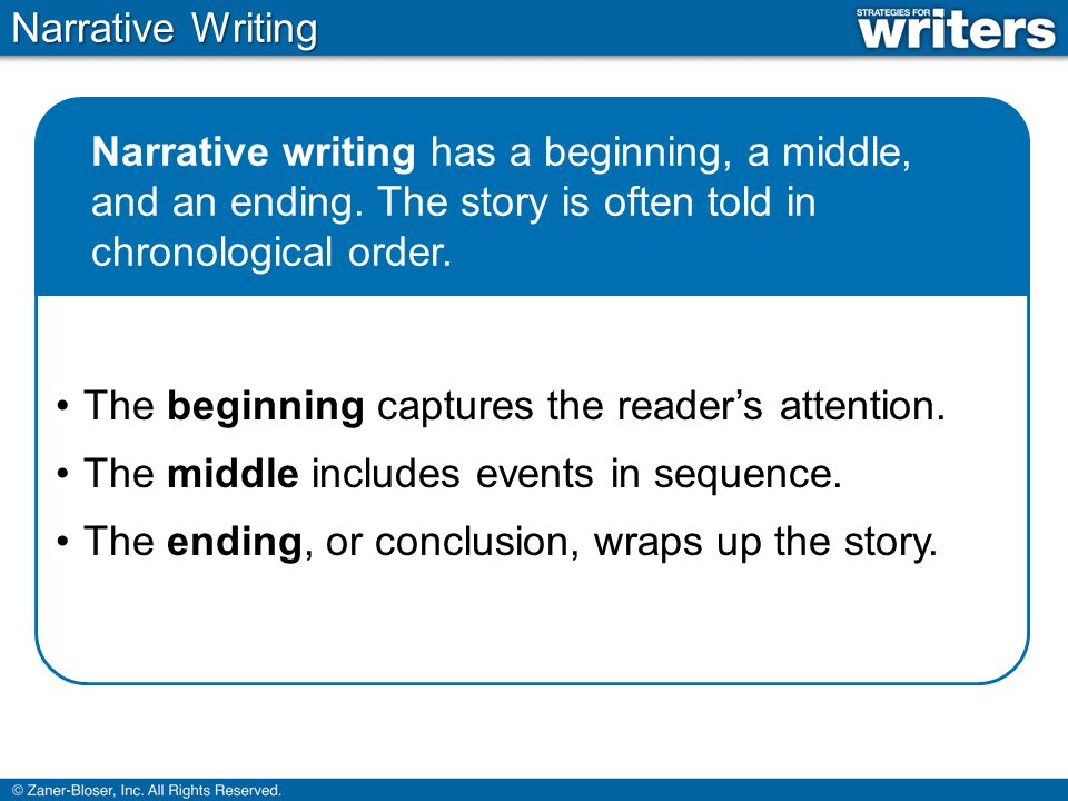 Narrative Writing When writing a narrative, writers often use the following elements of storytelling: Characters are the people in the story.