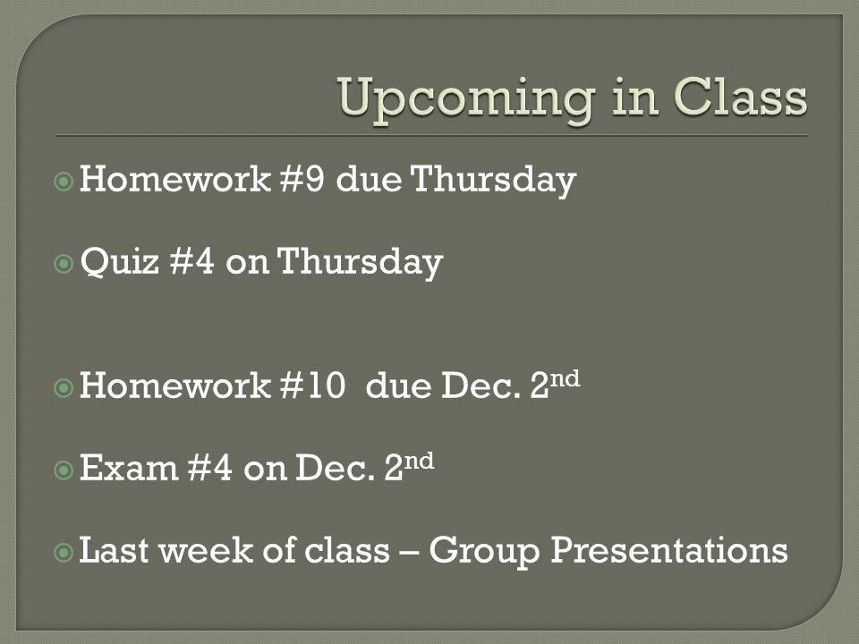 Homework #9 due Thursday Quiz #4 on Thursday Homework #10 due Dec. 2 nd Exam #4 on Dec. 2 nd Last week of class – Group Presentations