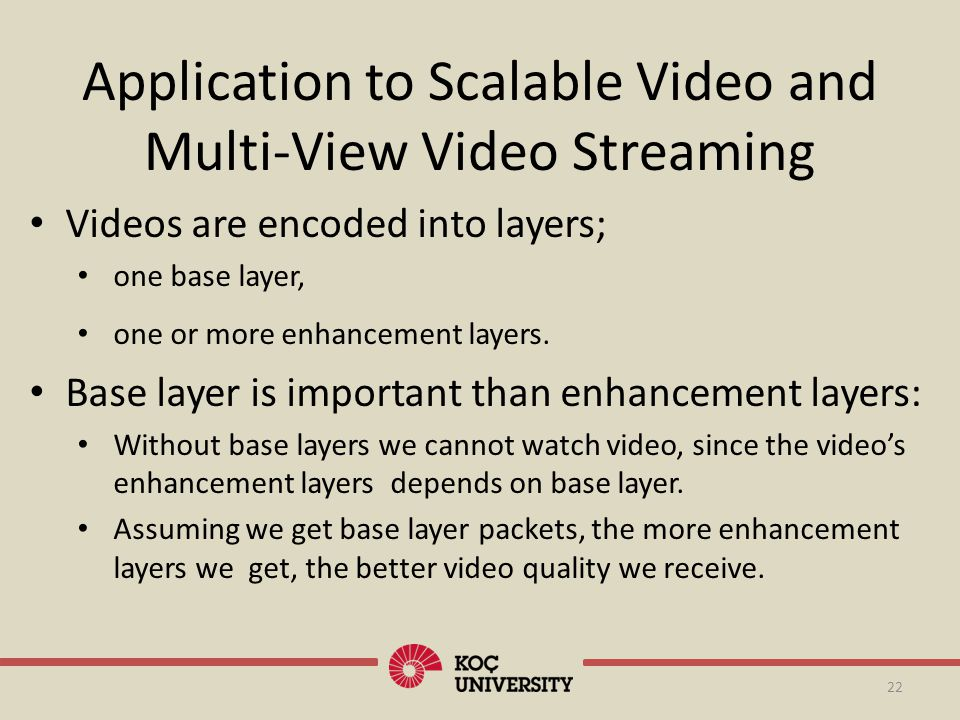 22 Application to Scalable Video and Multi-View Video Streaming Videos are encoded into layers; one base layer, one or more enhancement layers. Base l