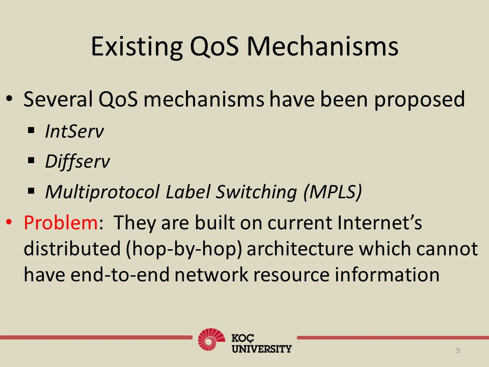 Existing QoS Mechanisms Several QoS mechanisms have been proposed IntServ Diffserv Multiprotocol Label Switching (MPLS) Problem: They are built on cur