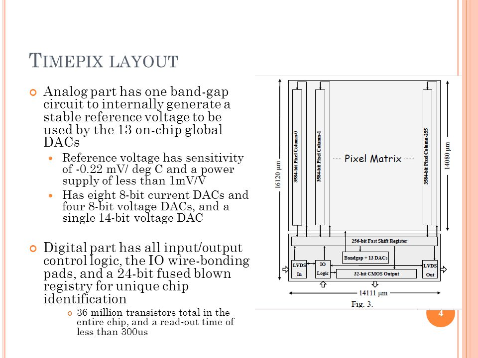 T IMEPIX LAYOUT Analog part has one band-gap circuit to internally generate a stable reference voltage to be used by the 13 on-chip global DACs Reference voltage has sensitivity of -0.22 mV/ deg C and a power supply of less than 1mV/V Has eight 8-bit current DACs and four 8-bit voltage DACs, and a single 14-bit voltage DAC Digital part has all input/output control logic, the IO wire-bonding pads, and a 24-bit fused blown registry for unique chip identification 36 million transistors total in the entire chip, and a read-out time of less than 300us 4