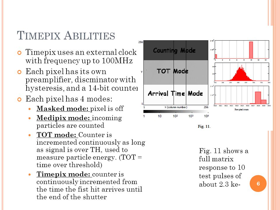 T IMEPIX A BILITIES Timepix uses an external clock with frequency up to 100MHz Each pixel has its own preamplifier, discminator with hysteresis, and a 14-bit counter Each pixel has 4 modes: Masked mode: pixel is off Medipix mode: incoming particles are counted TOT mode: Counter is incremented continuously as long as signal is over TH, used to measure particle energy.