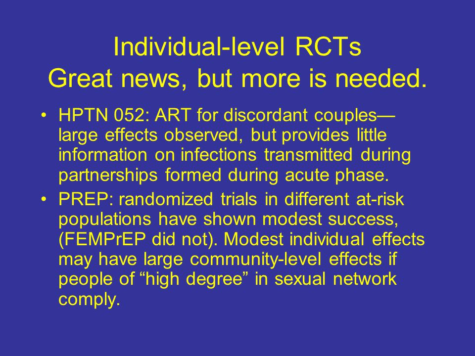 Individual-level RCTs Great news, but more is needed.
