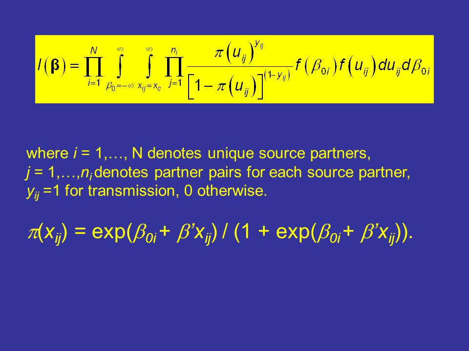 where i = 1,…, N denotes unique source partners, j = 1,…,n i denotes partner pairs for each source partner, y ij =1 for transmission, 0 otherwise.