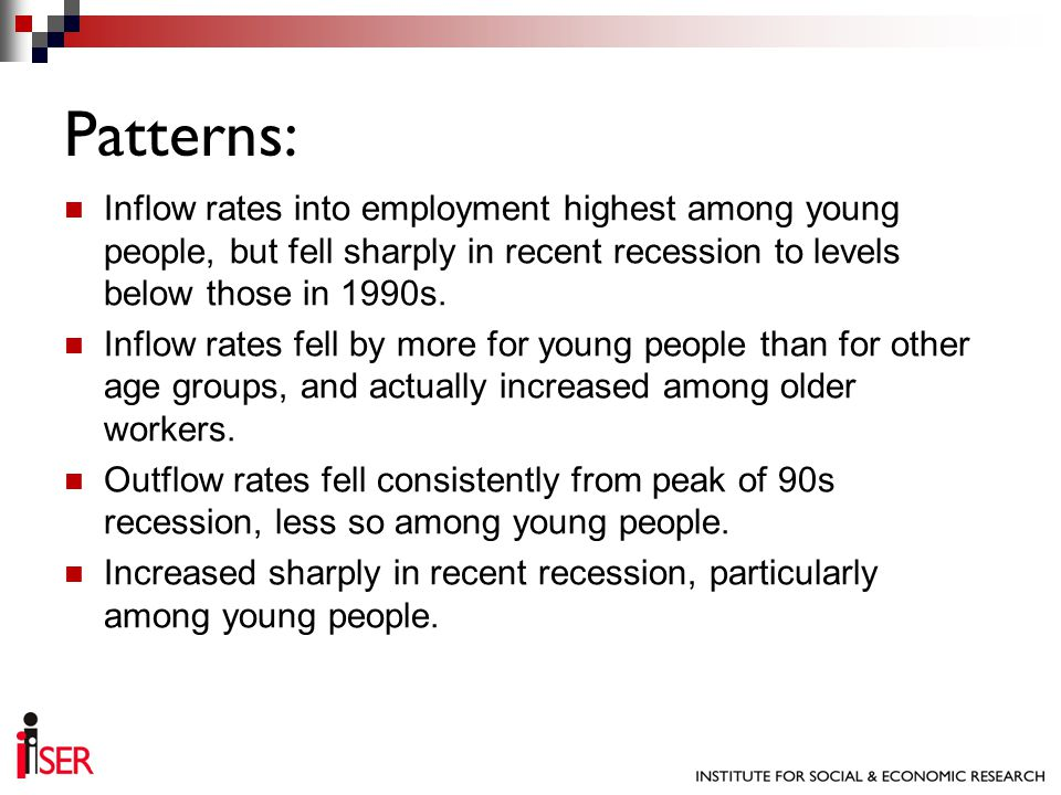 Inflow rates into employment highest among young people, but fell sharply in recent recession to levels below those in 1990s. Inflow rates fell by mor
