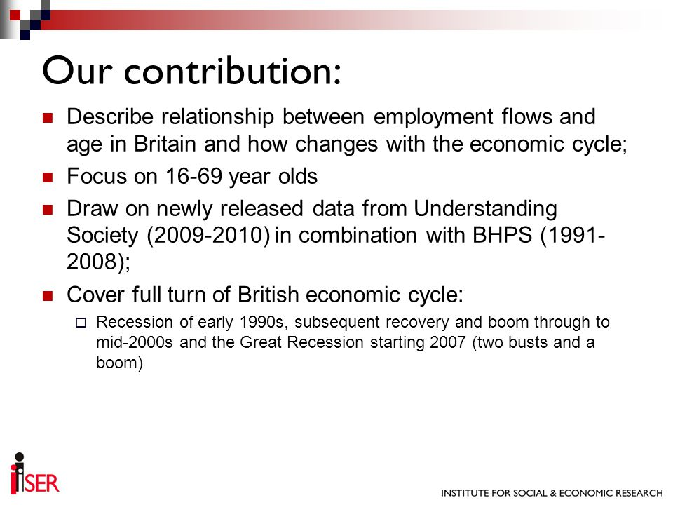 Describe relationship between employment flows and age in Britain and how changes with the economic cycle; Focus on 16-69 year olds Draw on newly released data from Understanding Society (2009-2010) in combination with BHPS (1991- 2008); Cover full turn of British economic cycle: Recession of early 1990s, subsequent recovery and boom through to mid-2000s and the Great Recession starting 2007 (two busts and a boom) Our contribution: