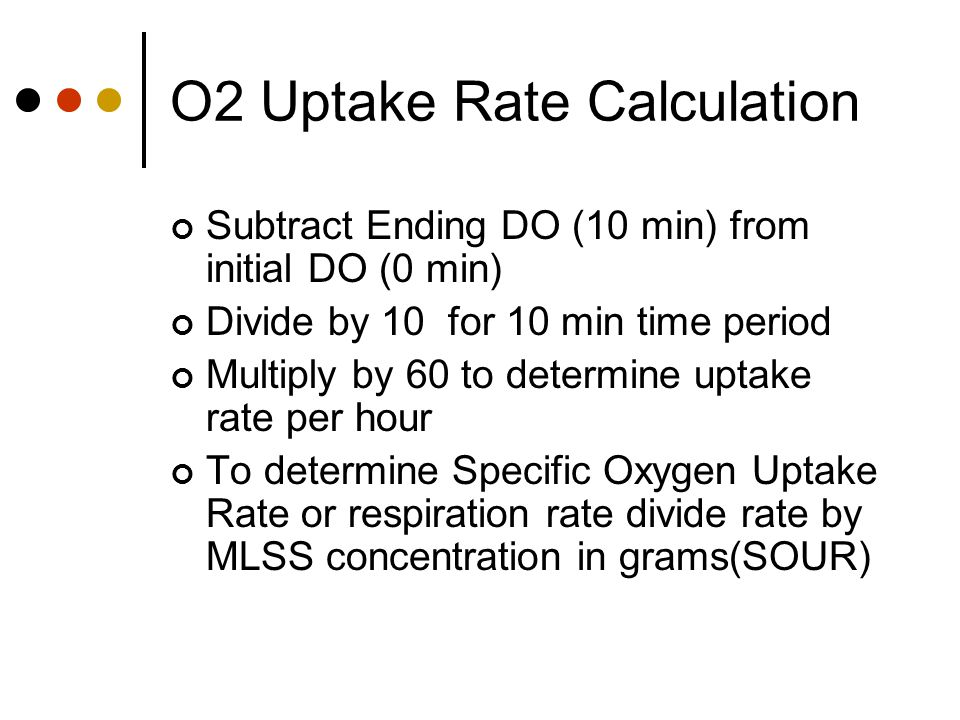 O2 Uptake Rate Calculation Subtract Ending DO (10 min) from initial DO (0 min) Divide by 10 for 10 min time period Multiply by 60 to determine uptake