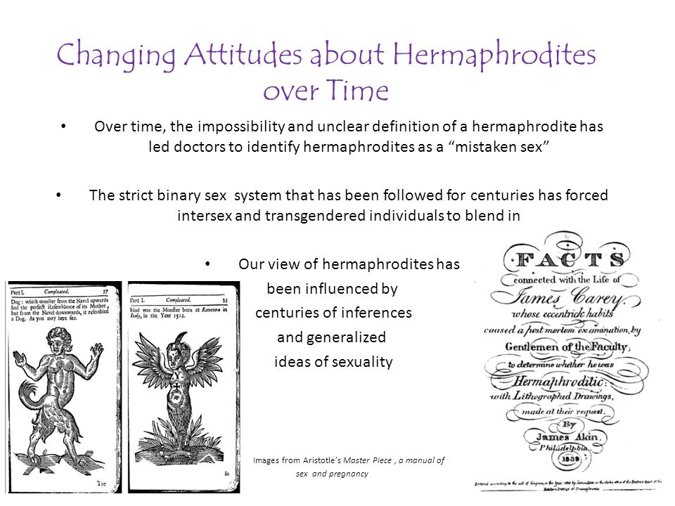 Changing Attitudes about Hermaphrodites over Time Over time, the impossibility and unclear definition of a hermaphrodite has led doctors to identify hermaphrodites as a mistaken sex The strict binary sex system that has been followed for centuries has forced intersex and transgendered individuals to blend in Our view of hermaphrodites has been influenced by centuries of inferences and generalized ideas of sexuality Images from Aristotles Master Piece, a manual of sex and pregnancy