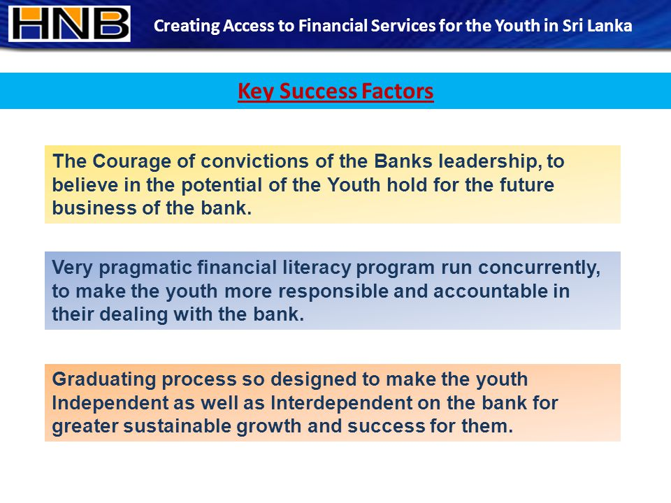 The Courage of convictions of the Banks leadership, to believe in the potential of the Youth hold for the future business of the bank.