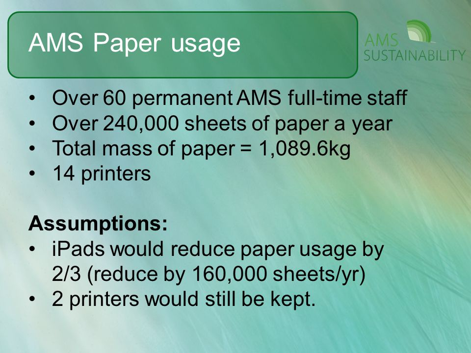 AMS Paper usage Over 60 permanent AMS full-time staff Over 240,000 sheets of paper a year Total mass of paper = 1,089.6kg 14 printers Assumptions: iPa