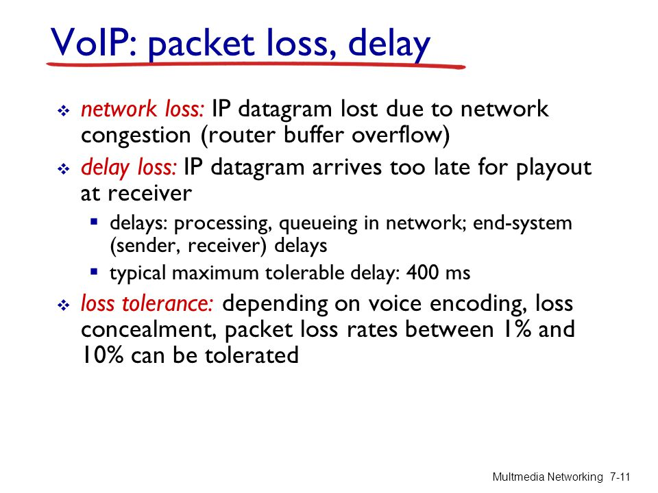 VoIP: packet loss, delay network loss: IP datagram lost due to network congestion (router buffer overflow) delay loss: IP datagram arrives too late fo