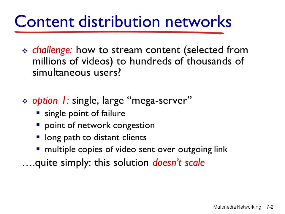 Content distribution networks challenge: how to stream content (selected from millions of videos) to hundreds of thousands of simultaneous users? opti