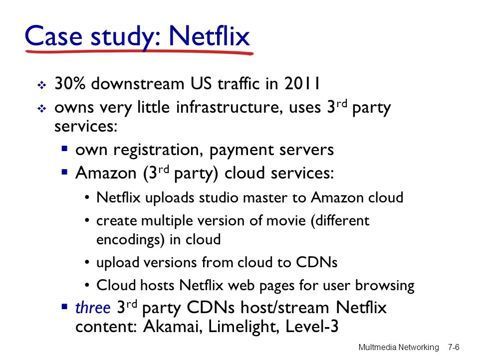 Case study: Netflix 30% downstream US traffic in 2011 owns very little infrastructure, uses 3 rd party services: own registration, payment servers Ama