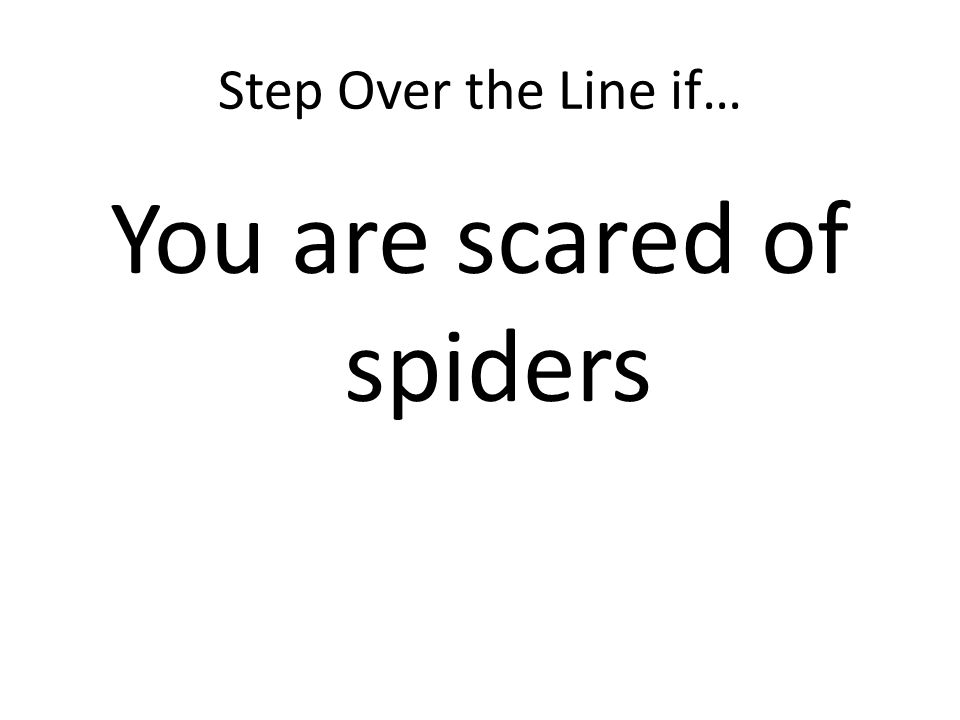 Step Over the Line if… You are scared of spiders