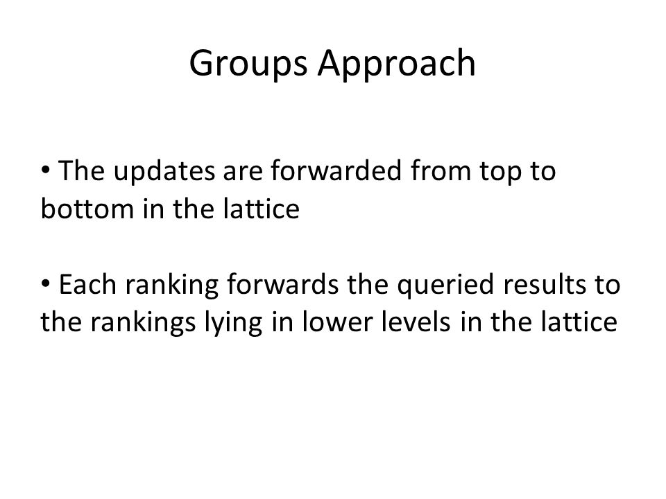 Groups Approach The updates are forwarded from top to bottom in the lattice Each ranking forwards the queried results to the rankings lying in lower l