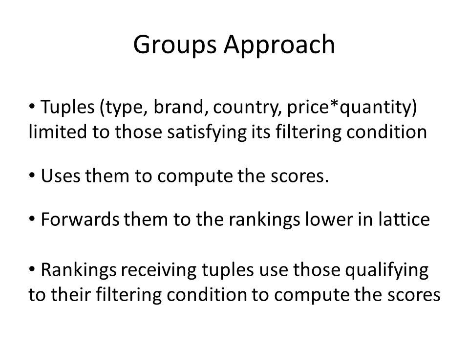 Groups Approach Tuples (type, brand, country, price*quantity) limited to those satisfying its filtering condition Uses them to compute the scores. For