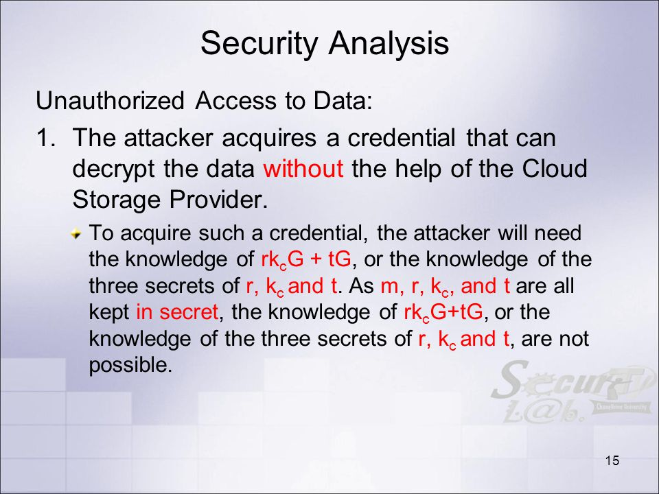 Security Analysis Unauthorized Access to Data: 1.The attacker acquires a credential that can decrypt the data without the help of the Cloud Storage Provider.