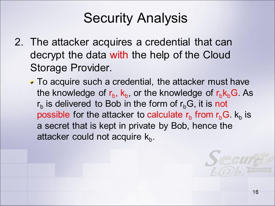 Security Analysis 2.The attacker acquires a credential that can decrypt the data with the help of the Cloud Storage Provider.