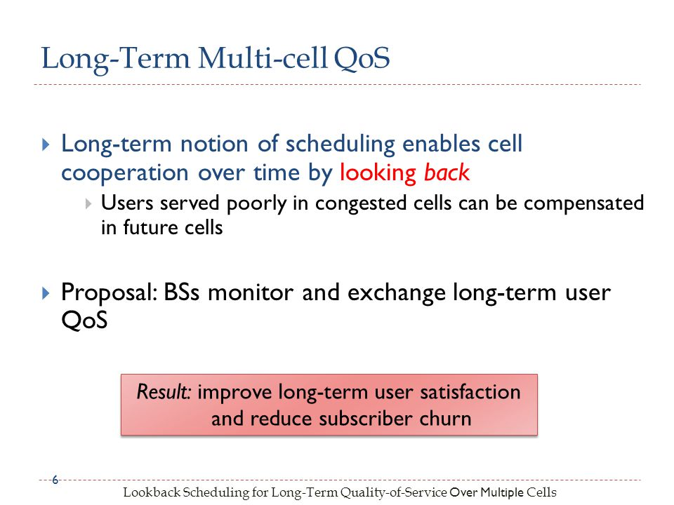 Lookback Scheduling for Long-Term Quality-of-Service Over Multiple Cells Long-term notion of scheduling enables cell cooperation over time by looking