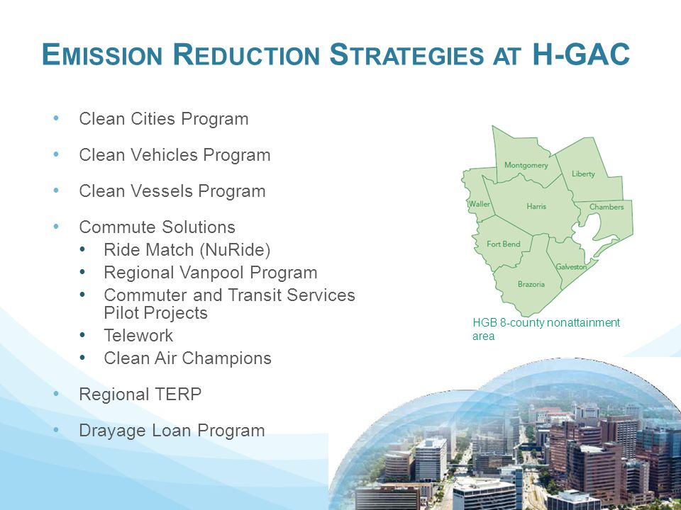 E MISSION R EDUCTION S TRATEGIES AT H-GAC Clean Cities Program Clean Vehicles Program Clean Vessels Program Commute Solutions Ride Match (NuRide) Regional Vanpool Program Commuter and Transit Services Pilot Projects Telework Clean Air Champions Regional TERP Drayage Loan Program HGB 8-county nonattainment area