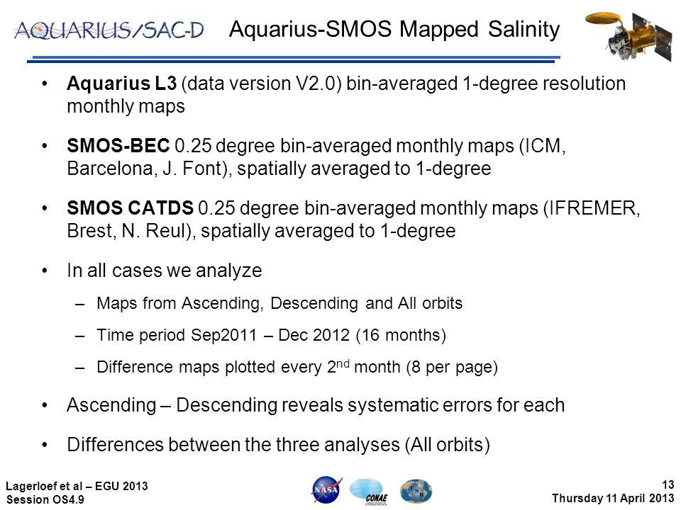 13 Thursday 11 April 2013 Lagerloef et al – EGU 2013 Session OS4.9 Aquarius-SMOS Mapped Salinity Aquarius L3 (data version V2.0) bin-averaged 1-degree