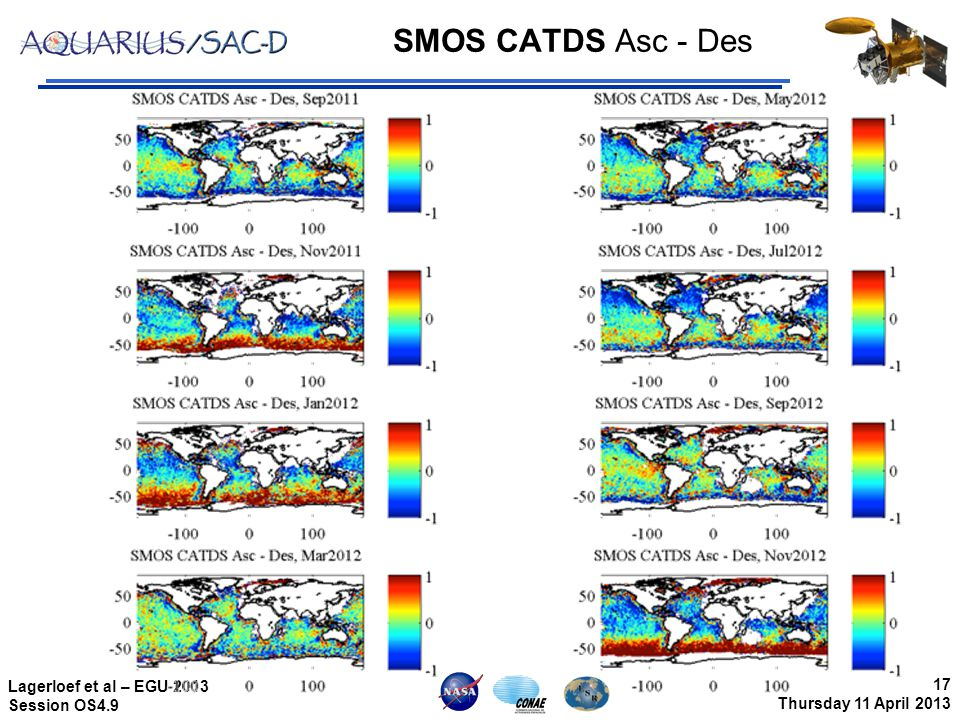 17 Thursday 11 April 2013 Lagerloef et al – EGU 2013 Session OS4.9 SMOS CATDS Asc - Des