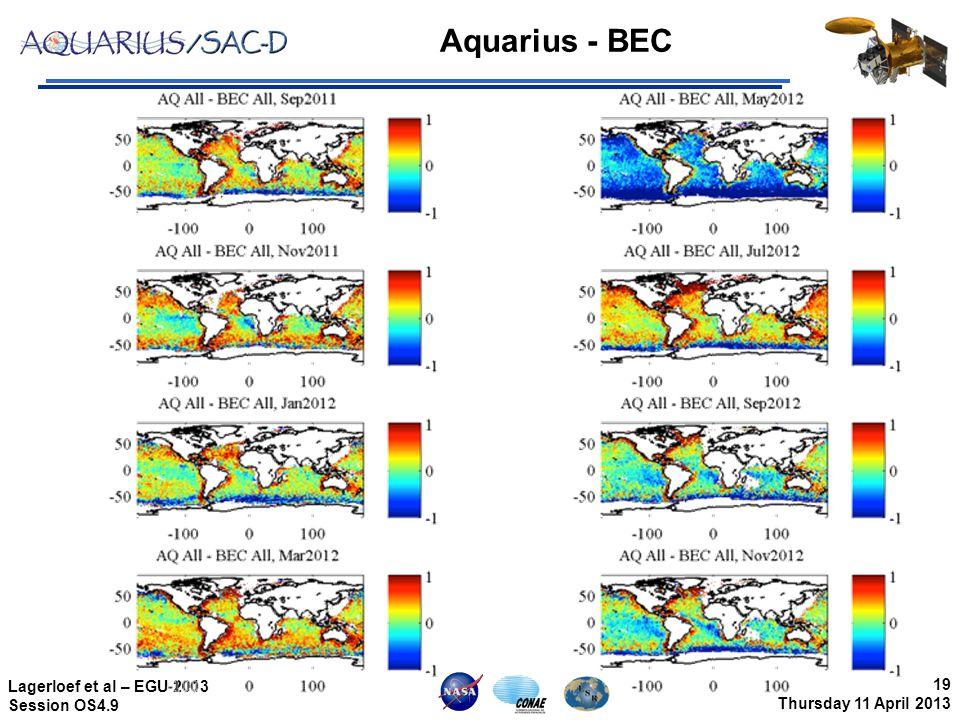 19 Thursday 11 April 2013 Lagerloef et al – EGU 2013 Session OS4.9 Aquarius - BEC