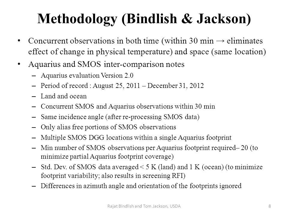 Comparison between Aquarius and SMOS Rajat Bindlish and Tom Jackson, USDA Land Ocean