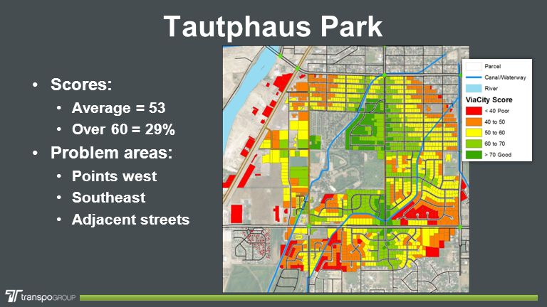 Tautphaus Park Scores: Average = 53 Over 60 = 29% Problem areas: Points west Southeast Adjacent streets