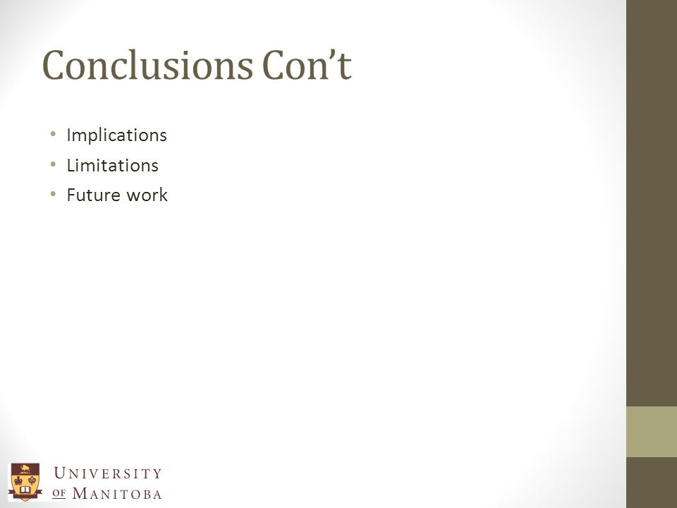 Conclusions Cont Implications Limitations Future work