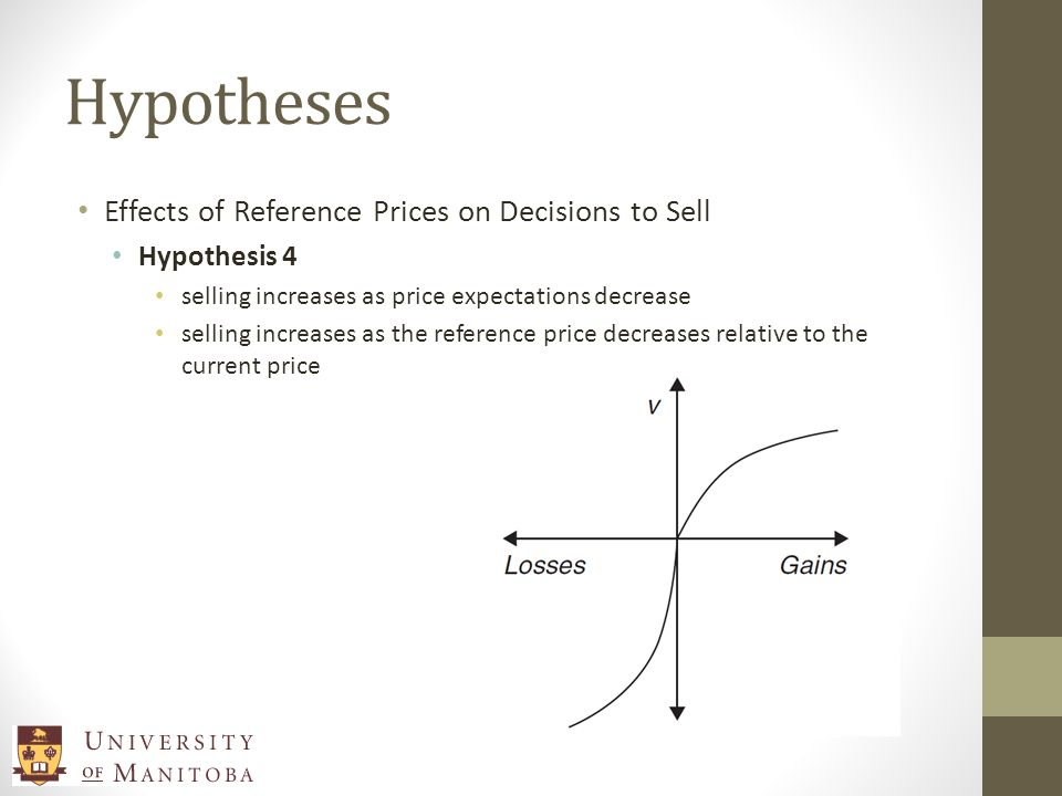 Hypotheses Effects of Reference Prices on Decisions to Sell Hypothesis 4 selling increases as price expectations decrease selling increases as the reference price decreases relative to the current price