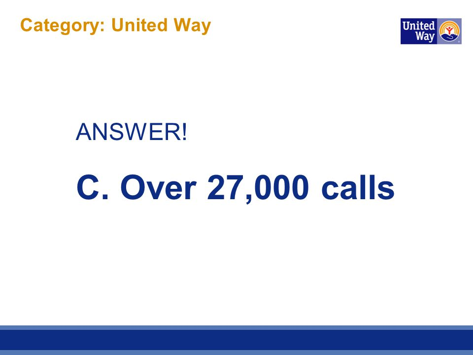 Category: United Way ANSWER! C. Over 27,000 calls