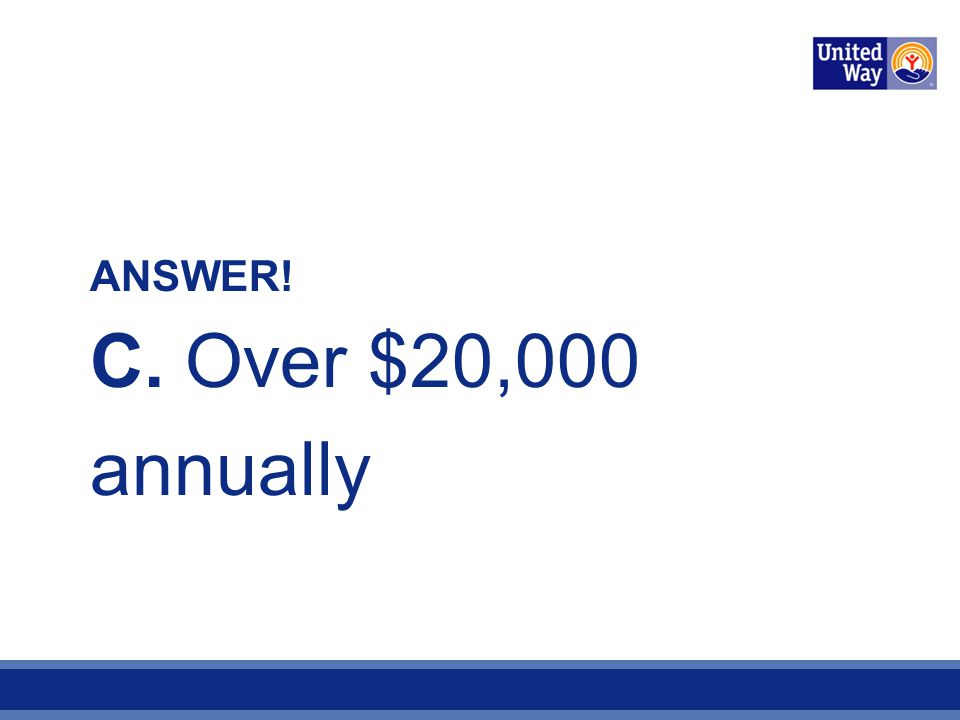 ANSWER! C. Over $20,000 annually