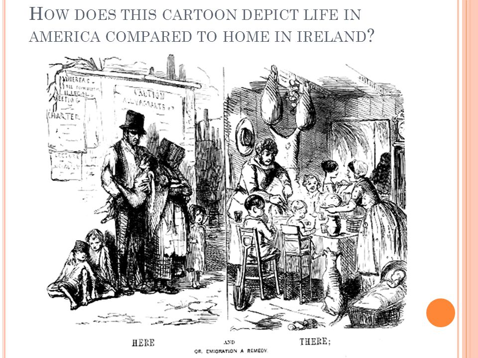 H OW DOES THIS CARTOON DEPICT LIFE IN AMERICA COMPARED TO HOME IN IRELAND ?