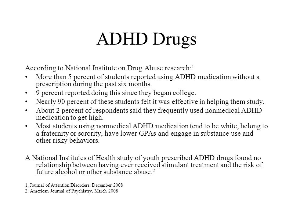 ADHD Drugs According to National Institute on Drug Abuse research: 1 More than 5 percent of students reported using ADHD medication without a prescrip