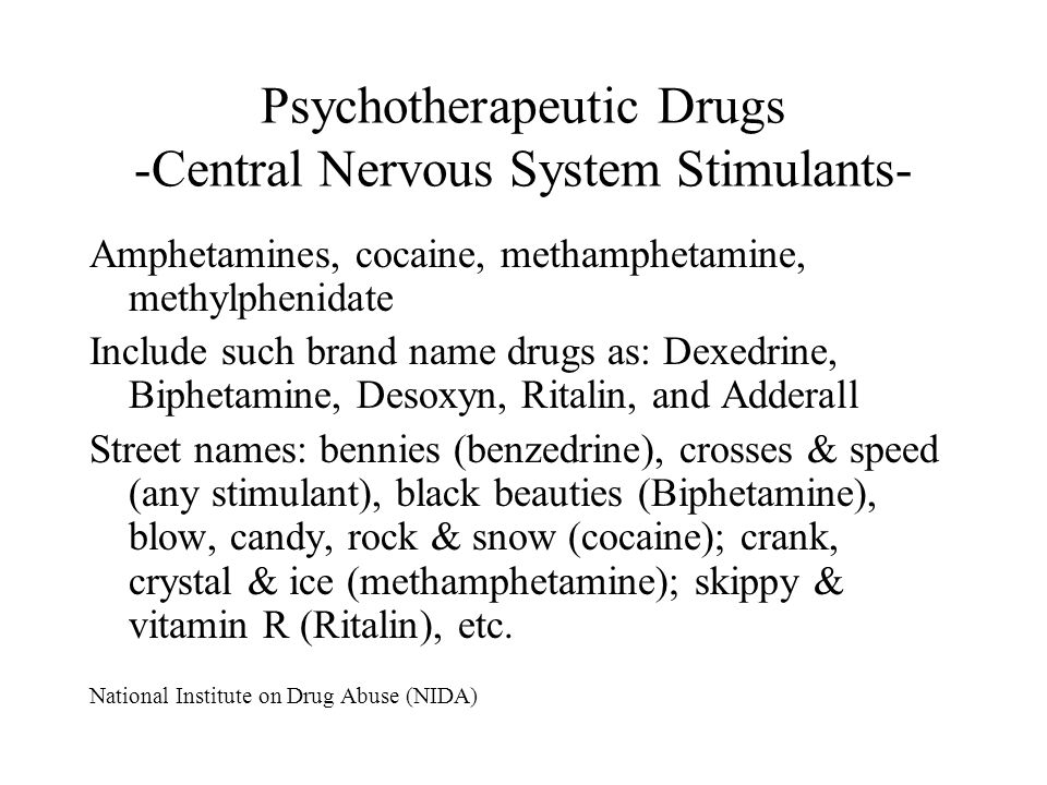 Psychotherapeutic Drugs -Central Nervous System Stimulants- Amphetamines, cocaine, methamphetamine, methylphenidate Include such brand name drugs as: