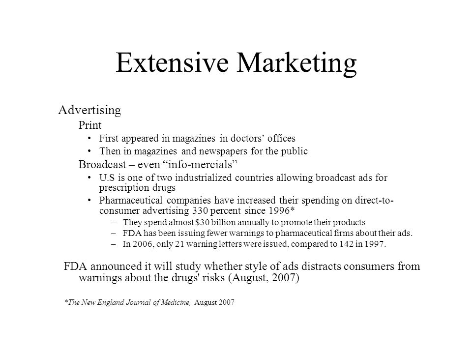 Extensive Marketing Advertising Print First appeared in magazines in doctors offices Then in magazines and newspapers for the public Broadcast – even