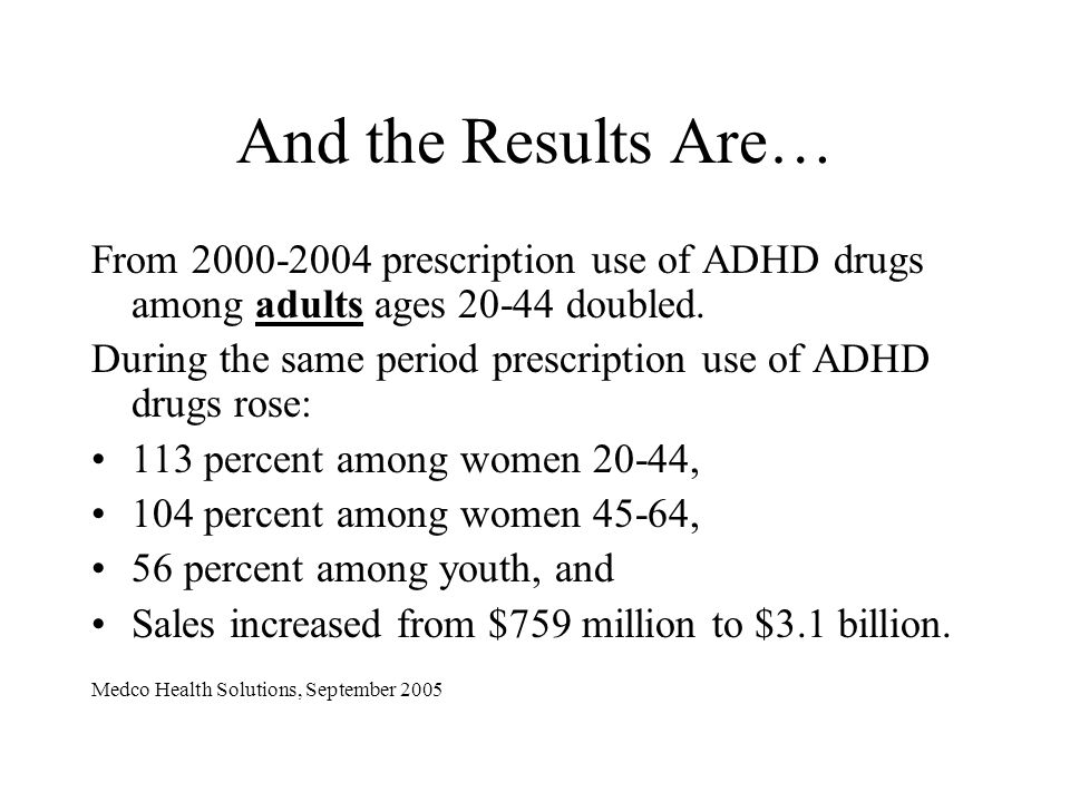 And the Results Are… From 2000-2004 prescription use of ADHD drugs among adults ages 20-44 doubled. During the same period prescription use of ADHD dr