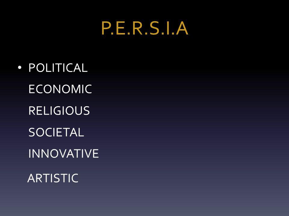 P.E.R.S.I.A POLITICAL ECONOMIC RELIGIOUS SOCIETAL INNOVATIVE ARTISTIC