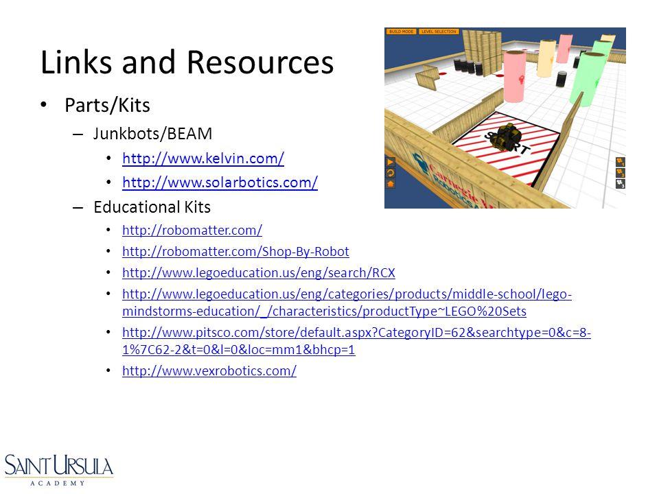 Parts/Kits – Junkbots/BEAM http://www.kelvin.com/ http://www.solarbotics.com/ – Educational Kits http://robomatter.com/ http://robomatter.com/Shop-By-