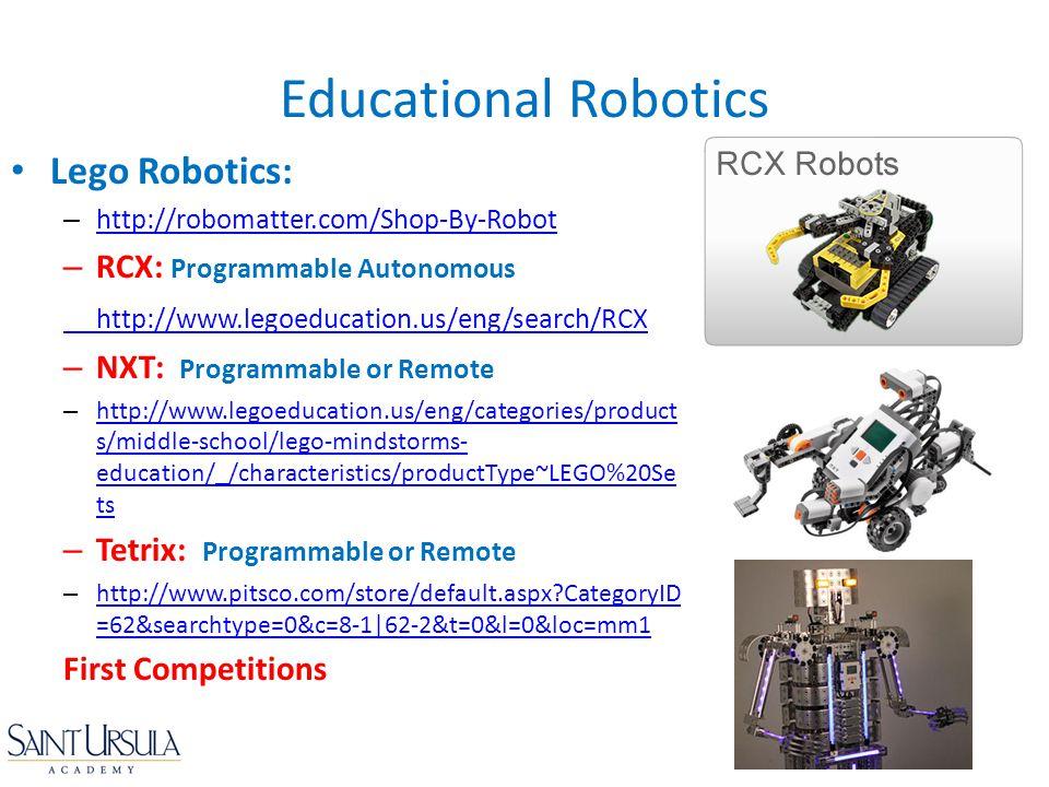 Lego Robotics: – http://robomatter.com/Shop-By-Robot http://robomatter.com/Shop-By-Robot – RCX: Programmable Autonomous http://www.legoeducation.us/en