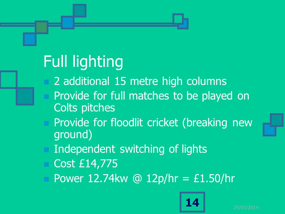 29/05/2014 14 Full lighting 2 additional 15 metre high columns Provide for full matches to be played on Colts pitches Provide for floodlit cricket (br