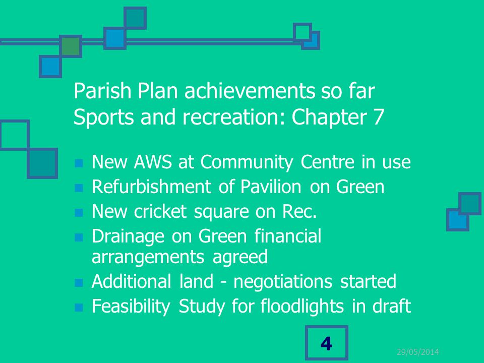 29/05/2014 4 Parish Plan achievements so far Sports and recreation: Chapter 7 New AWS at Community Centre in use Refurbishment of Pavilion on Green Ne