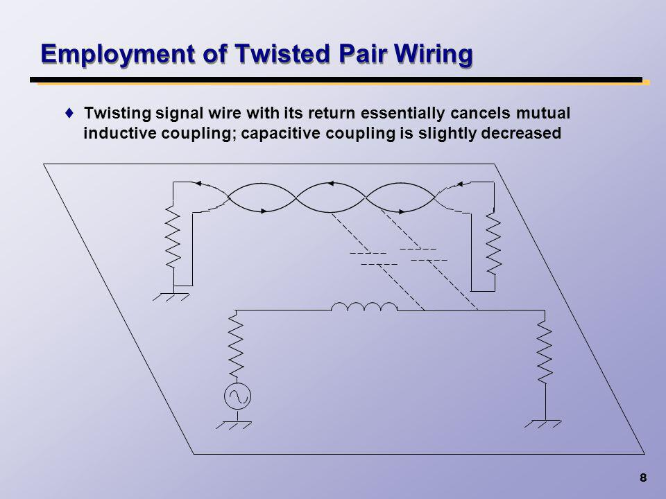 8 Employment of Twisted Pair Wiring Twisting signal wire with its return essentially cancels mutual inductive coupling; capacitive coupling is slightl
