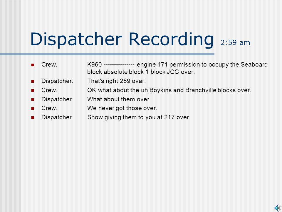 Dispatcher Recording 2:59 am Dispatcher.Hello K960 over.